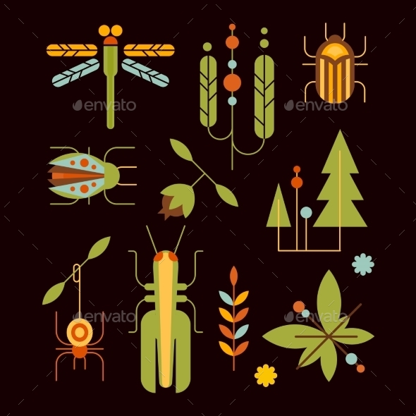 Nature, Insects, Leaves And Tree Icons Vector - Decorative Vectors