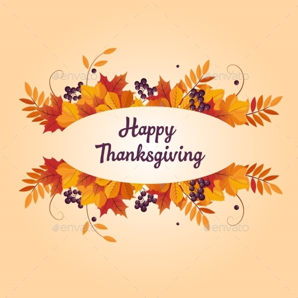 Autumn Thanksgiving Banner With Leaves And Black - Seasons Nature