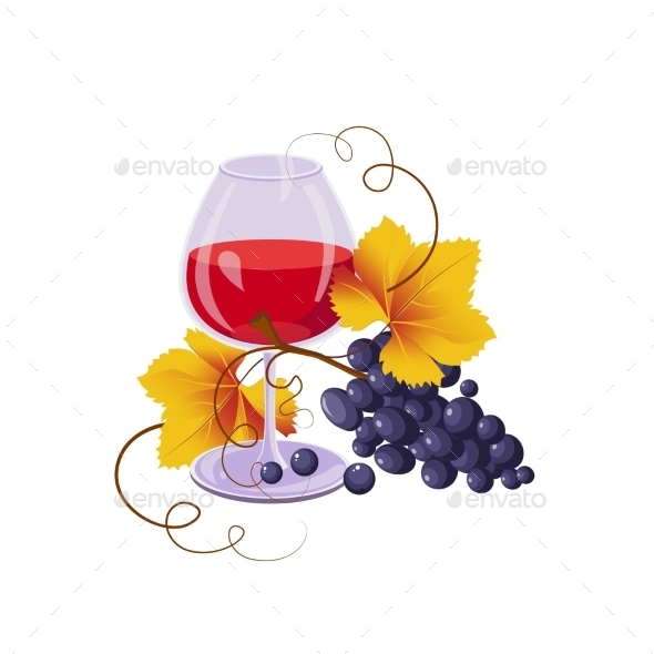 Glass Of Red Wine And Black Grapes, Vector  - Backgrounds Decorative