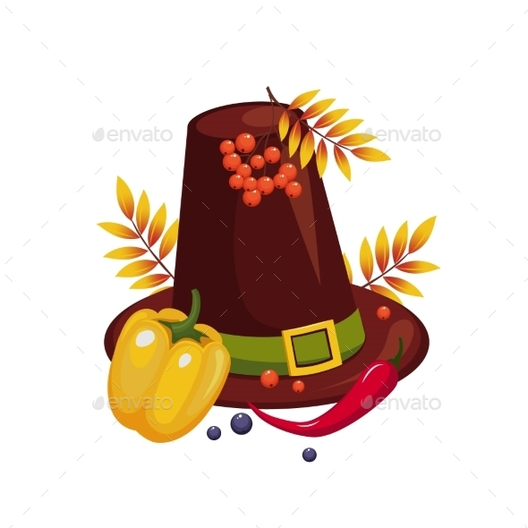 Thanksgiving Day Hat And Vegetables Vector - Seasons Nature
