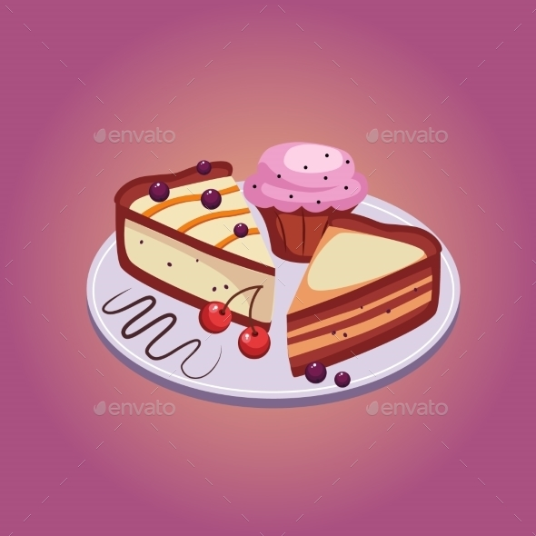 Pie And Cupcake With Cherries Vector Illustration - Birthdays Seasons/Holidays