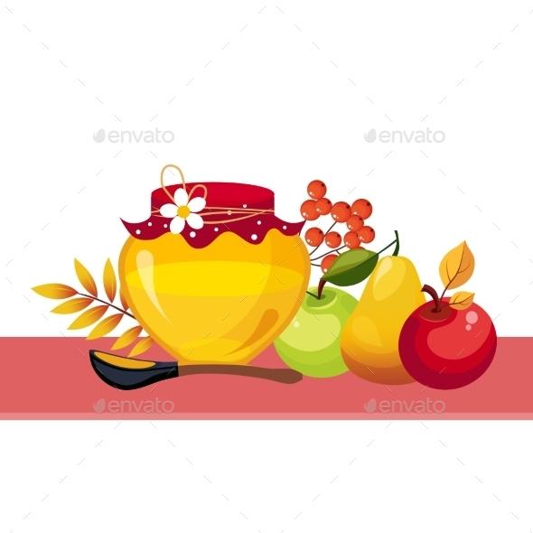 Autumn Harvest Illustration With Jar And Fruits  - Seasons Nature