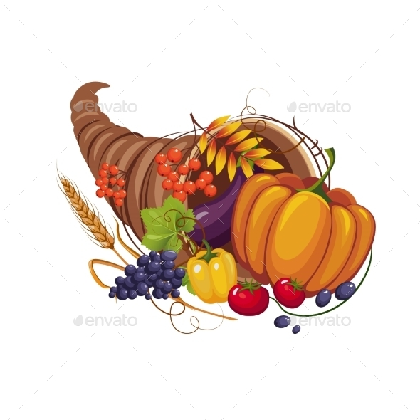Horn Of Plenty With Vegetables, Fruits, Stalks - Seasons Nature