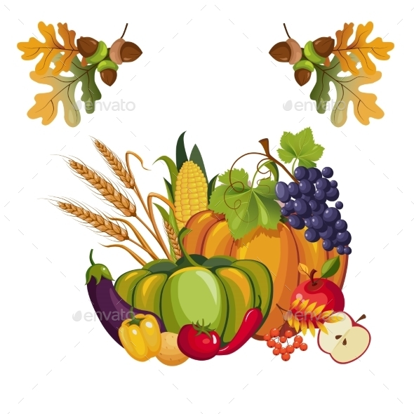 Harvest Of Vegetables And Fruits, With Autumn - Food Objects