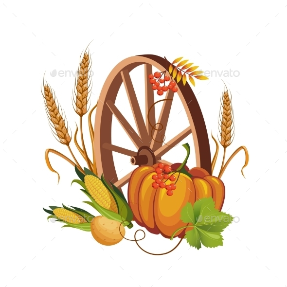 Wheel With Vegetables And Stalks Vector  - Flowers & Plants Nature