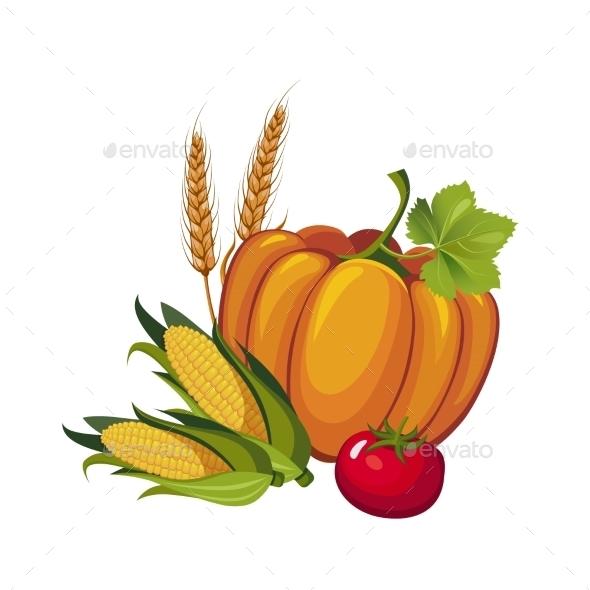 Harvest Pumpkin, Stalks And Tomato, Vector - Seasons Nature