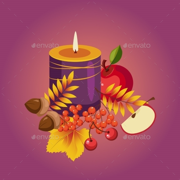 Thanksgiving Autumn Illustration With Candle - Seasons Nature