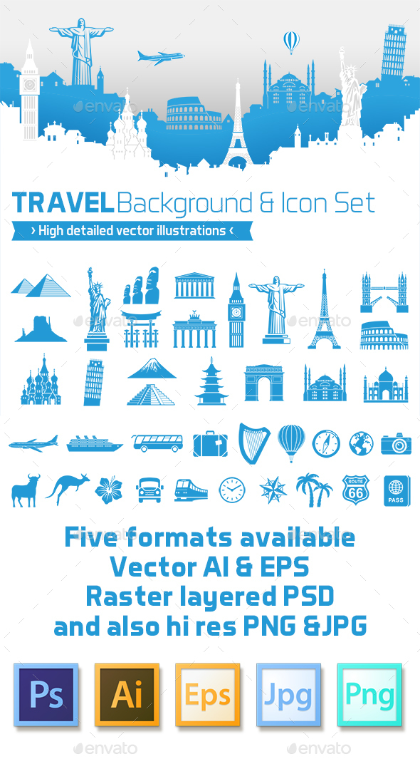 Travel Design Vector background with Icons - Travel Conceptual