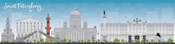 Saint Petersburg Skyline with Grey Landmarks - Buildings Objects