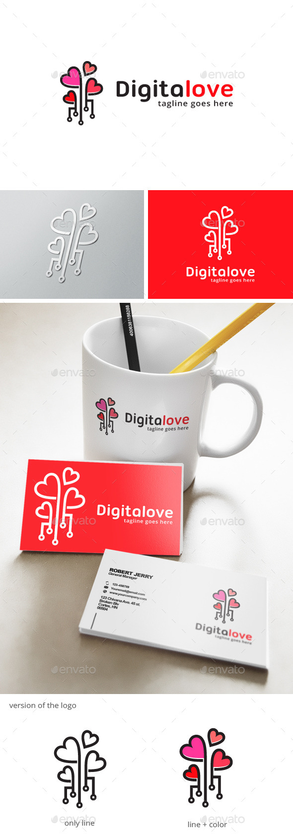 Digital Love Logo - Objects Logo Templates
