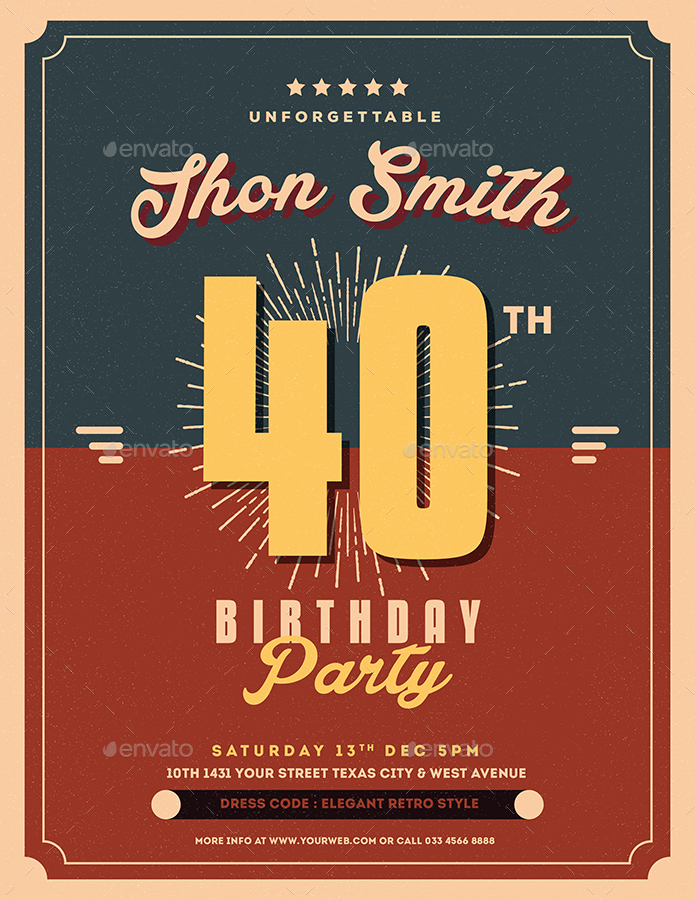 Retro Birthday Party Flyer by Guuver | GraphicRiver