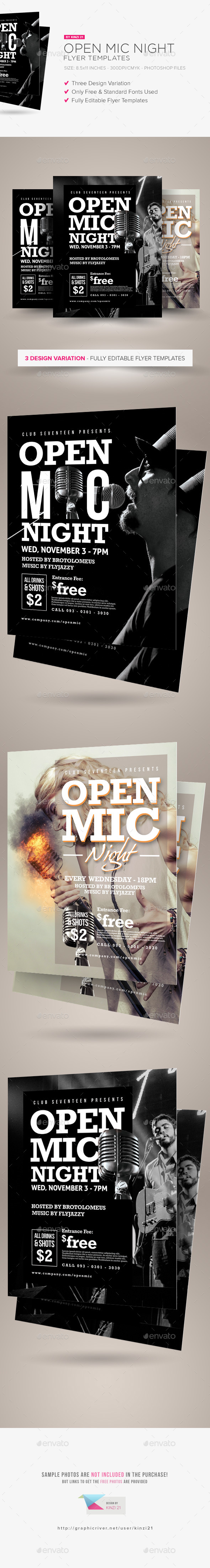 Open Mic Night Flyer Templates - Clubs & Parties Events