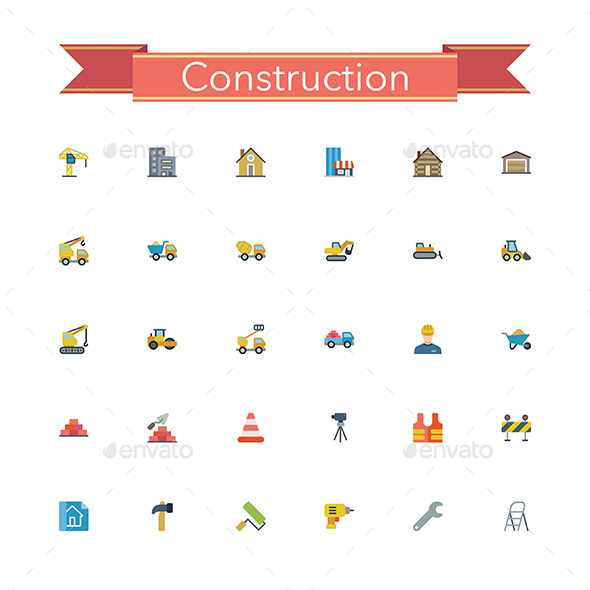Construction Flat Icons - Buildings Objects
