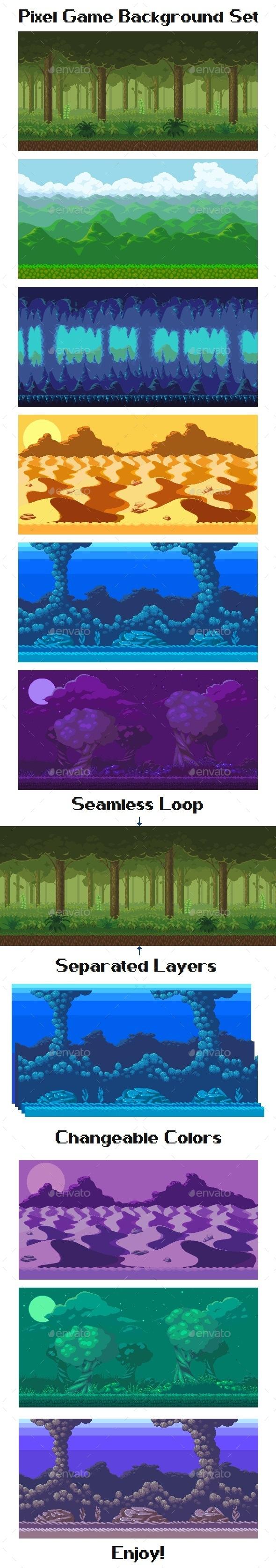 Pixel Game Background Set - Backgrounds Game Assets