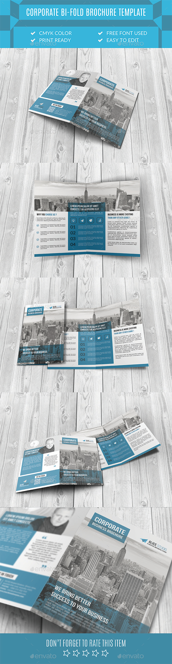 Corporate Bi-Fold Brochure Template - Corporate Brochures