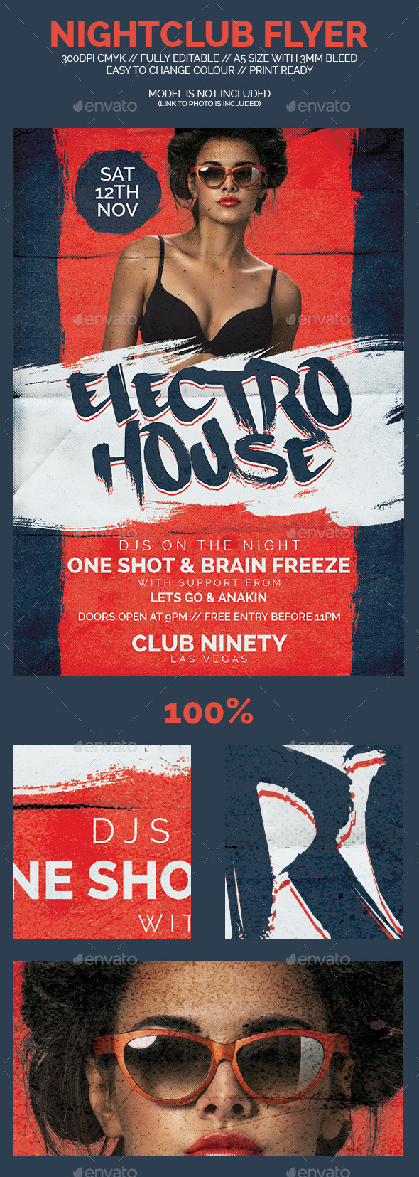Electro House Nightclub Flyer - Clubs & Parties Events