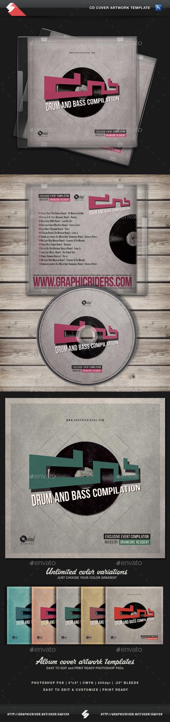 Drum and Bass - CD Cover Artwork Template - CD & DVD Artwork Print Templates