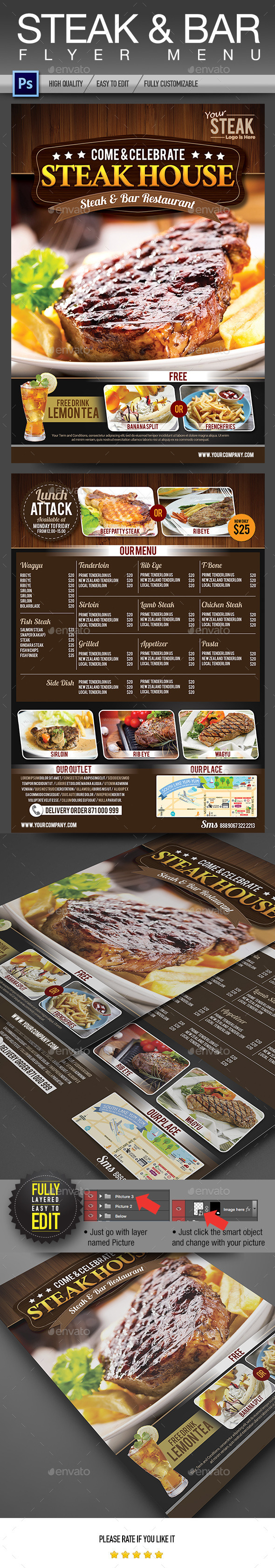 Steak & Bar Flyer Menu - Restaurant Flyers