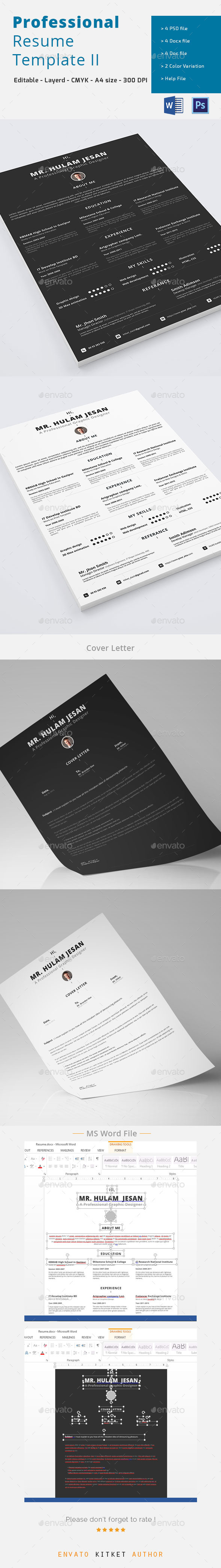 Professional Resume Template II - Resumes Stationery