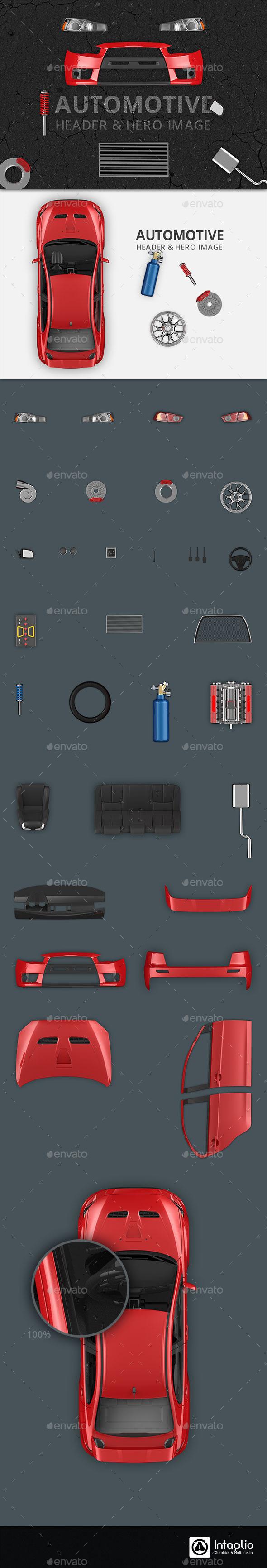 Automotive Hero Image and Header Mockup - Hero Images Graphics