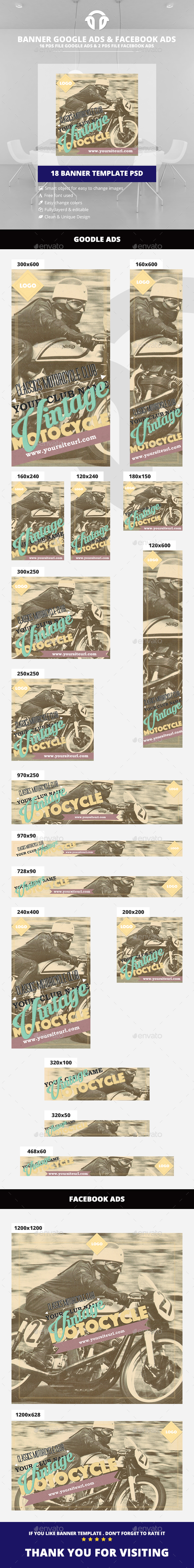 Retro / Vintage Multi-Clubs Ad - Banners & Ads Web Elements