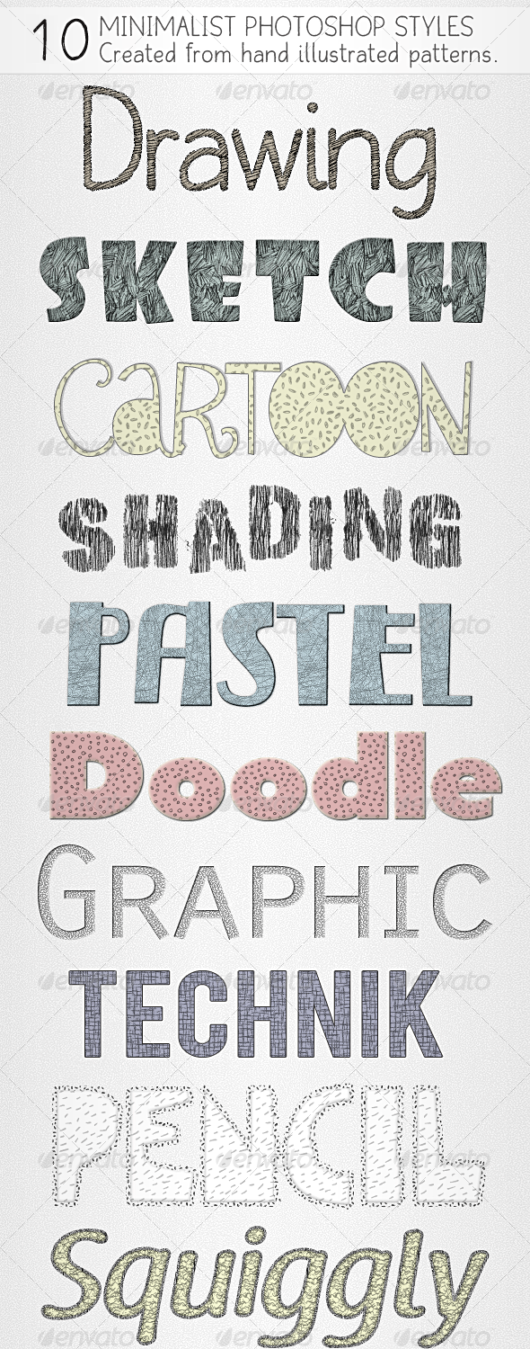 10 Pencil Art Styles - drawing & sketching - Text Effects Styles