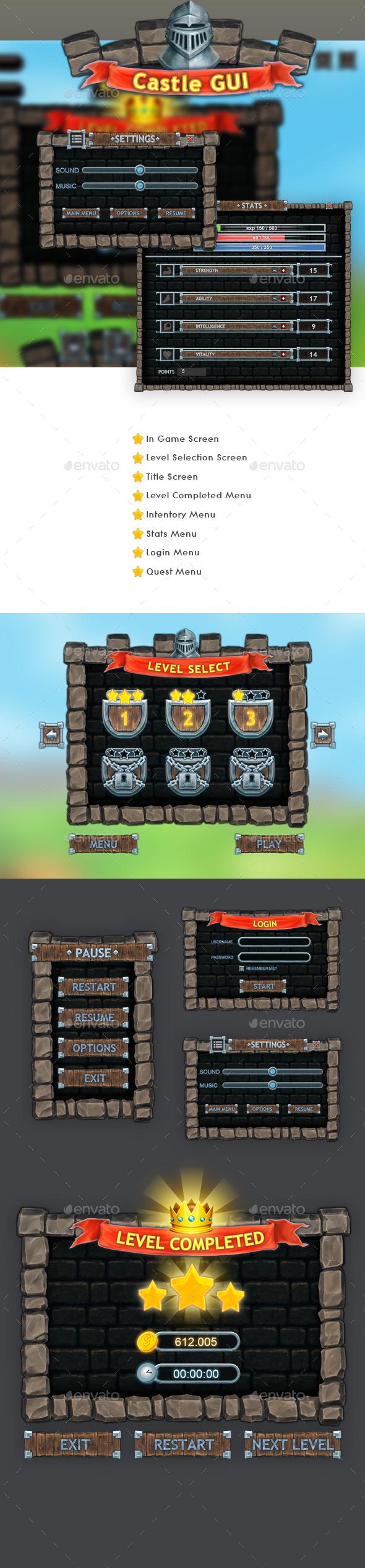 Castle Gui Set - User Interfaces Game Assets