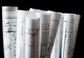 rolls of architecture blueprints and house plans - PhotoDune Item for Sale