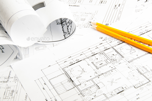 Construction planning drawings - Stock Photo - Images