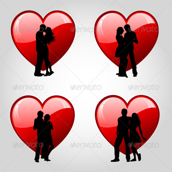 Couples on hearts - Valentines Seasons/Holidays