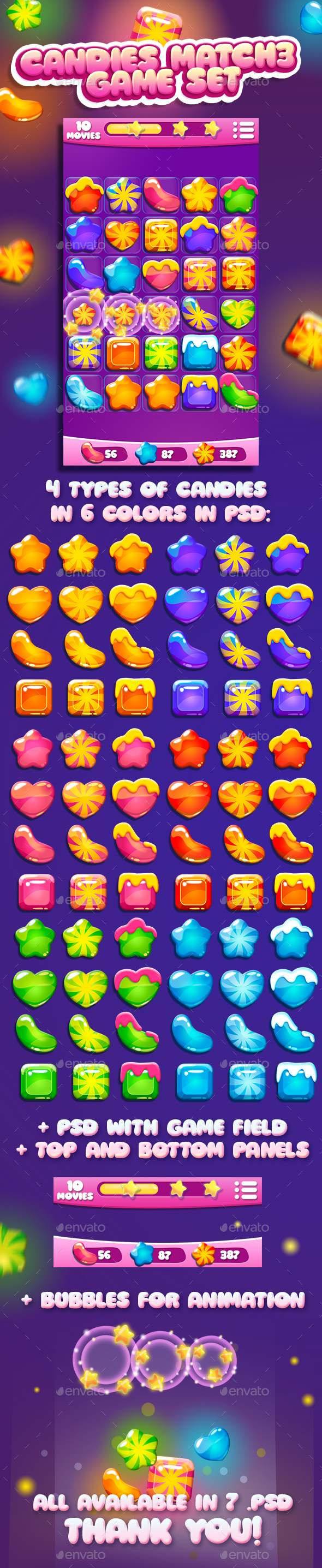 Candies for Match3 Game Set + game UI - Game Kits Game Assets