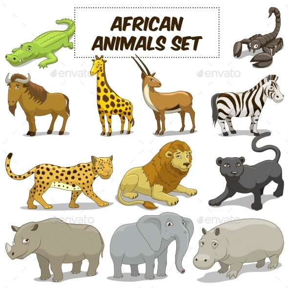 Cartoon African Savannah Animals Set - Animals Characters