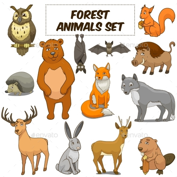 Cartoon Forest Animals Set - Animals Characters