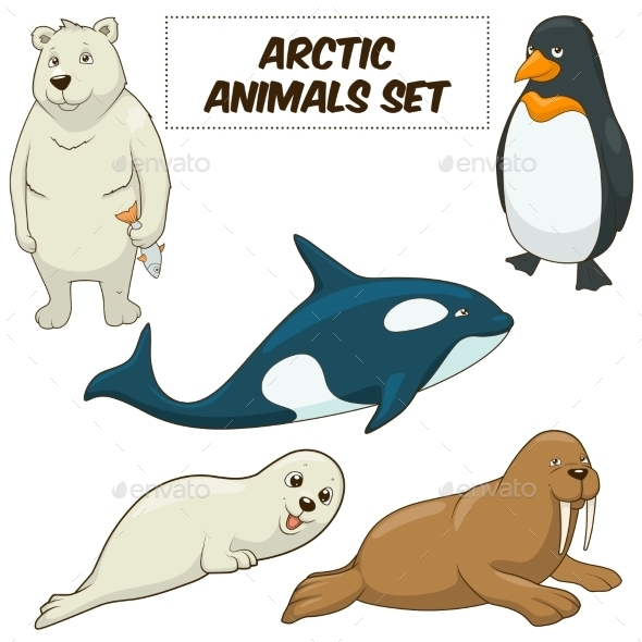Cartoon Arctic Animals Set - Animals Characters