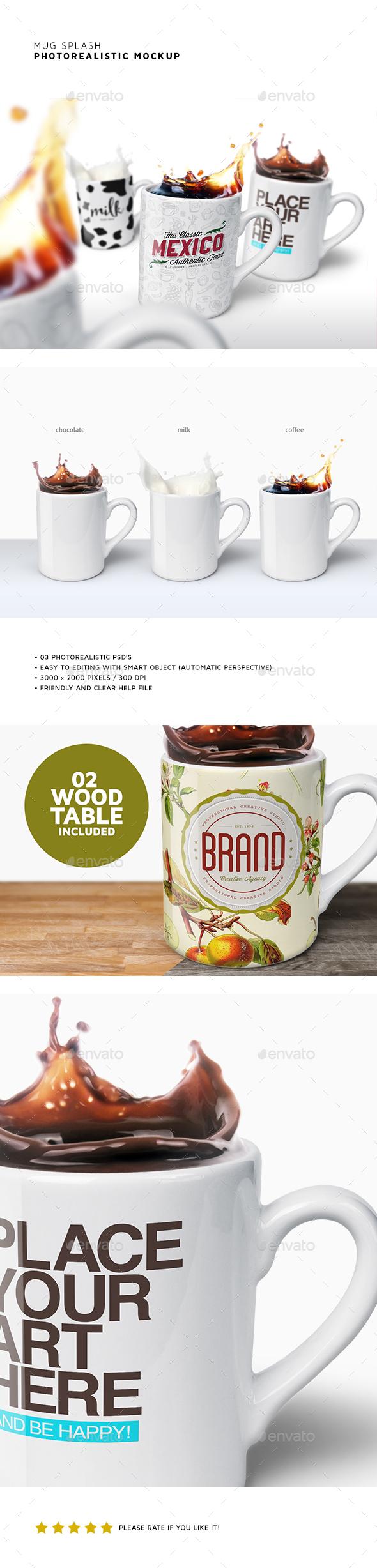 Mug Splash Mockups - Product Mock-Ups Graphics
