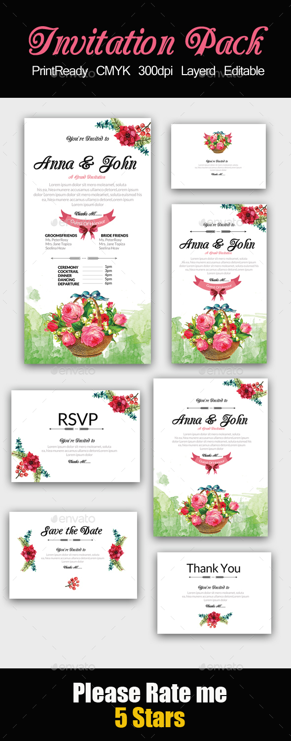 Floral Invitation Pack - Invitations Cards & Invites