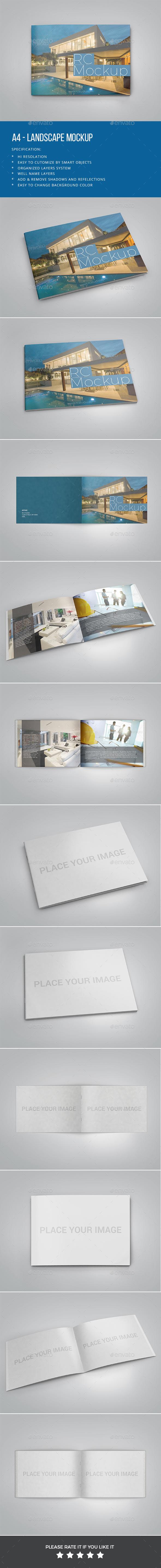 A4- Landscape Mockup - Print Product Mock-Ups