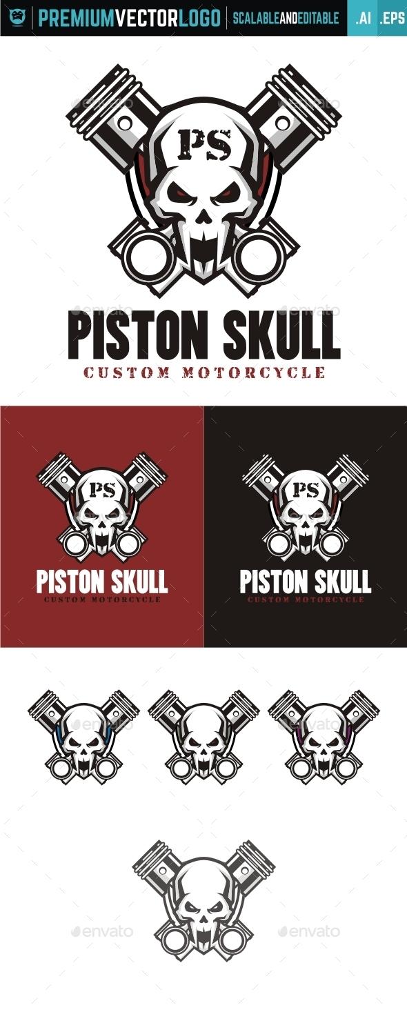 Piston Skull - Symbols Logo Templates