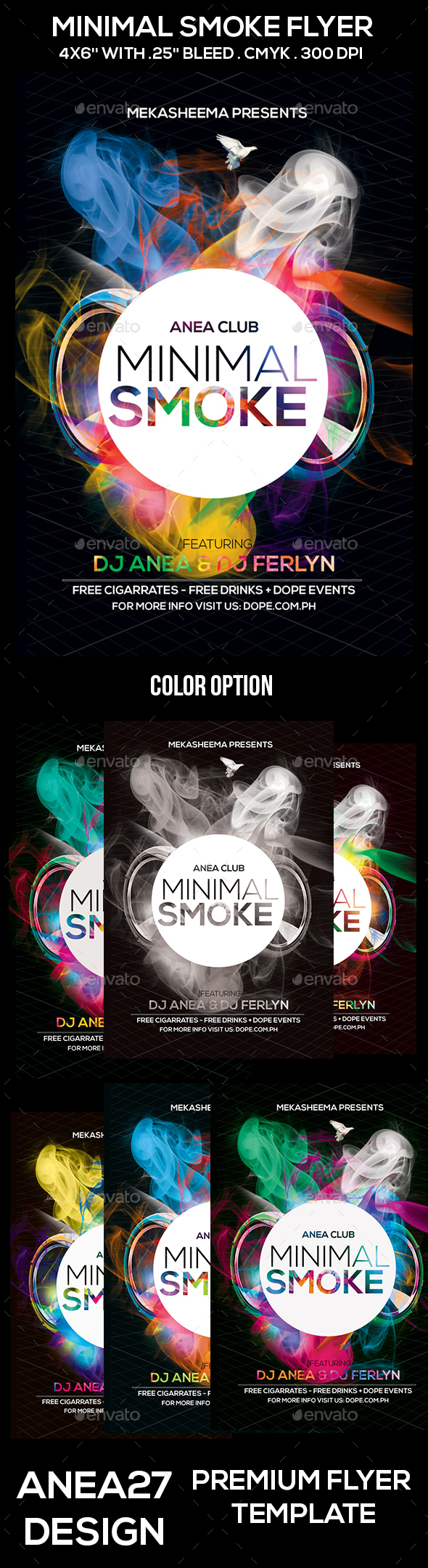 Minimal Smoke Flyer - Clubs & Parties Events