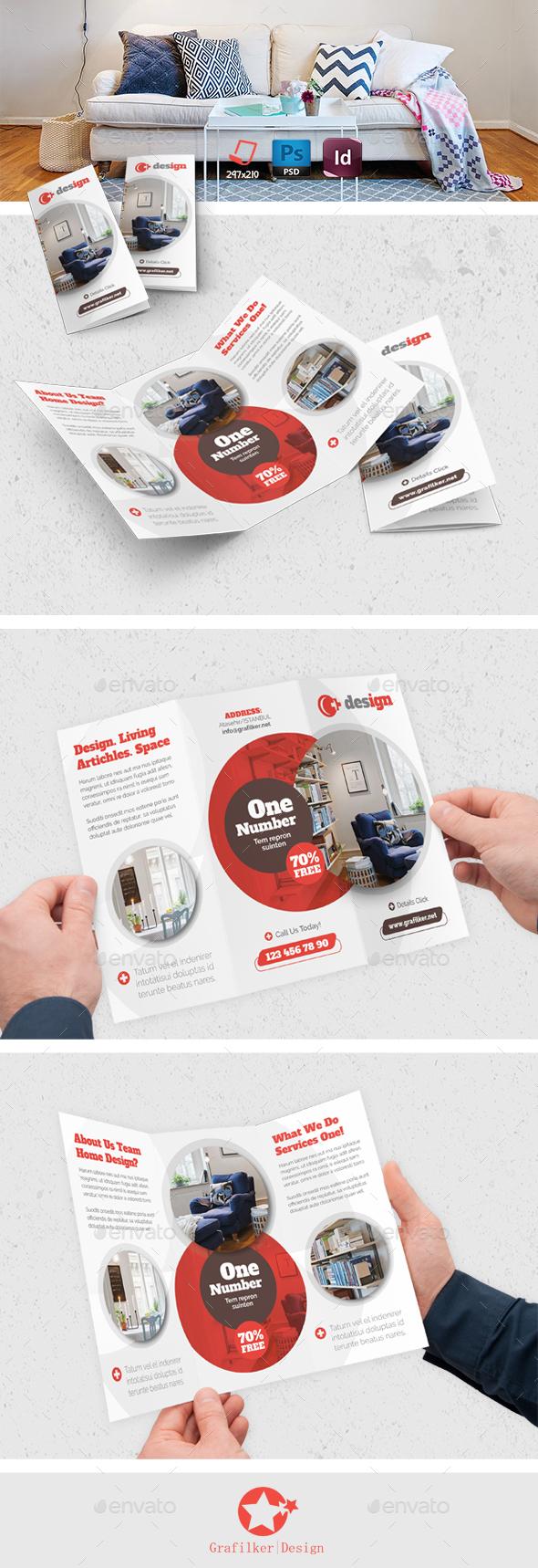 Interior Design Tri-Fold Templates - Brochures Print Templates