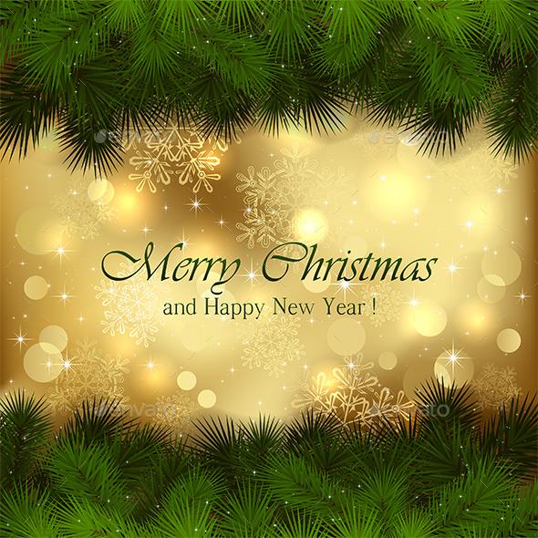 Golden Christmas Background - Christmas Seasons/Holidays