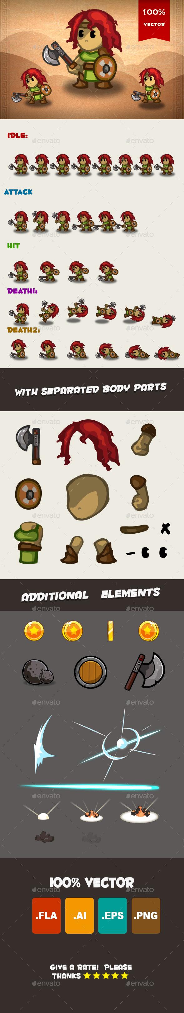 Barbarian Spritesheet 01 - Sprites Game Assets