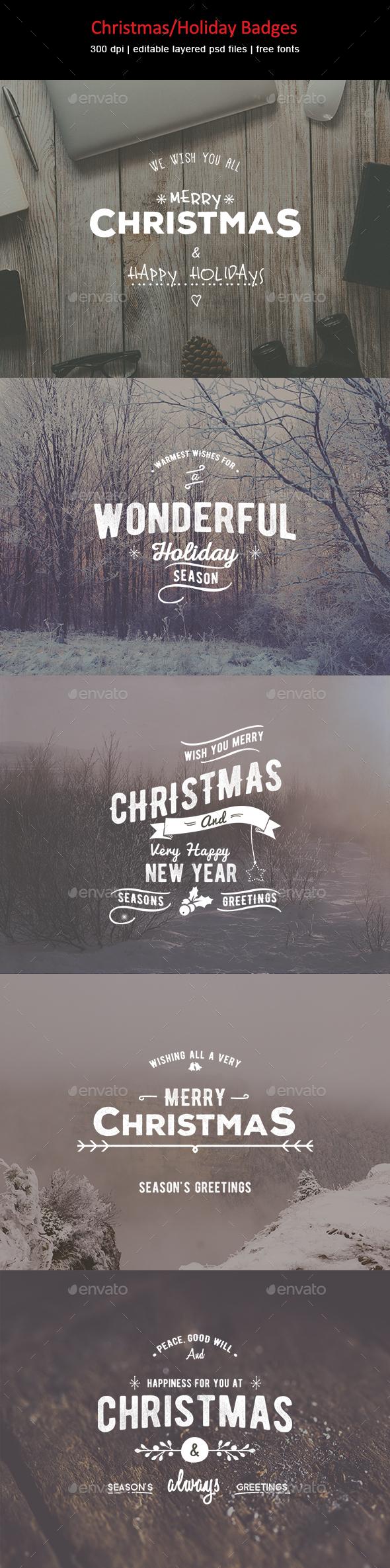 Christmas/Holiday Badges - Badges & Stickers Web Elements