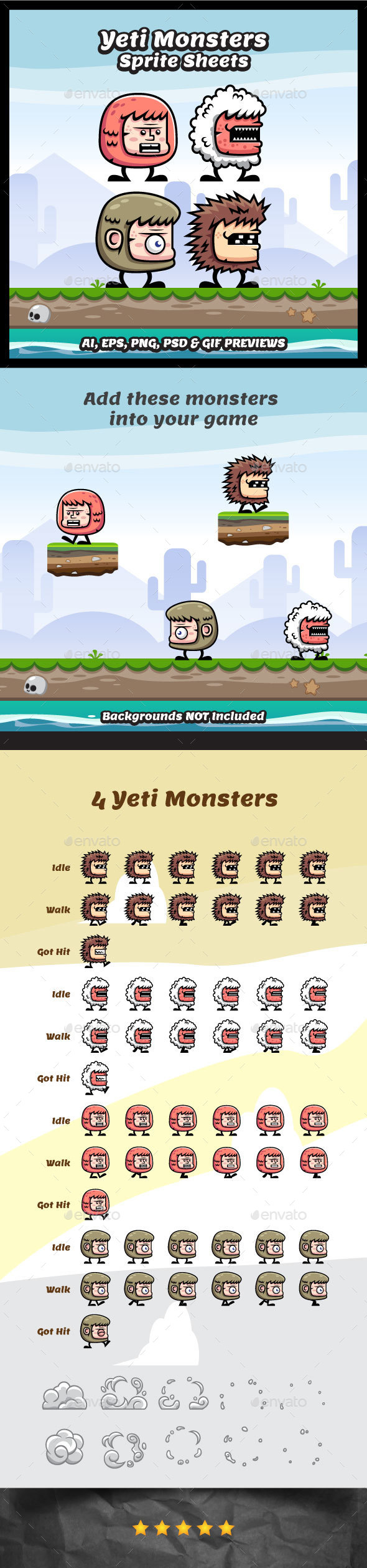 Yeti Monster Sprite Sheets - Sprites Game Assets