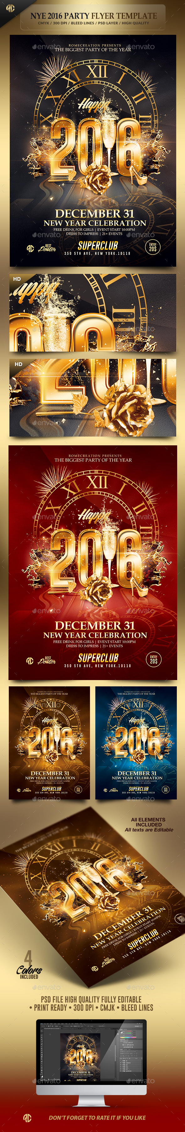 2016 New Year Party | Psd Flyer Template - Events Flyers