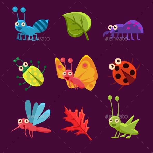 Insects and Leaves with Emotions - Animals Characters