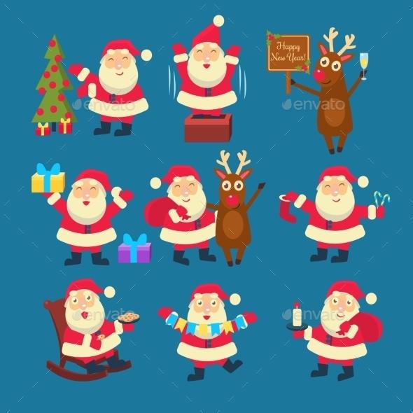 Santa and Deer Collection Christmas - Christmas Seasons/Holidays