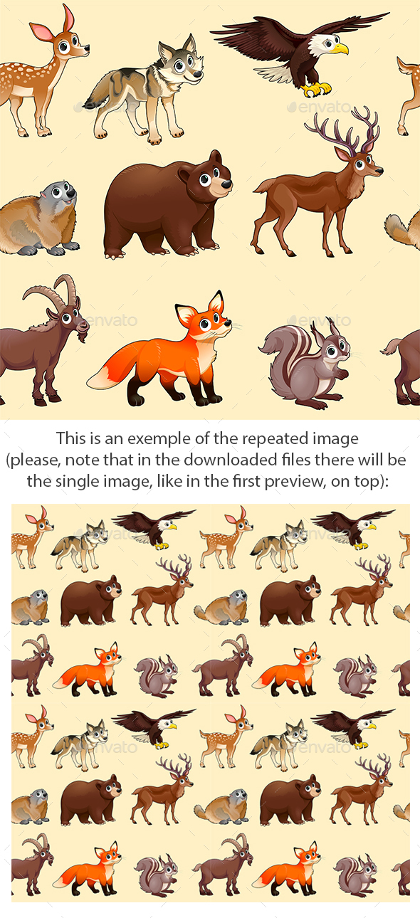 Cartoon Mountain Animals Pattern - Animals Characters