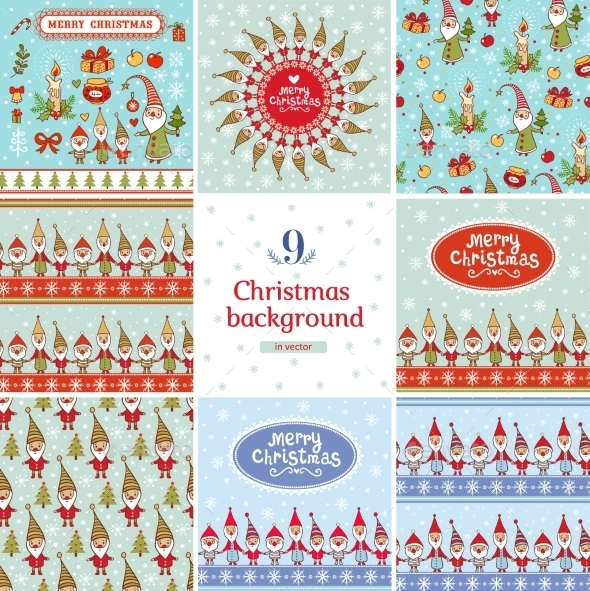 New Year and Christmas Backgrounds Set - Christmas Seasons/Holidays