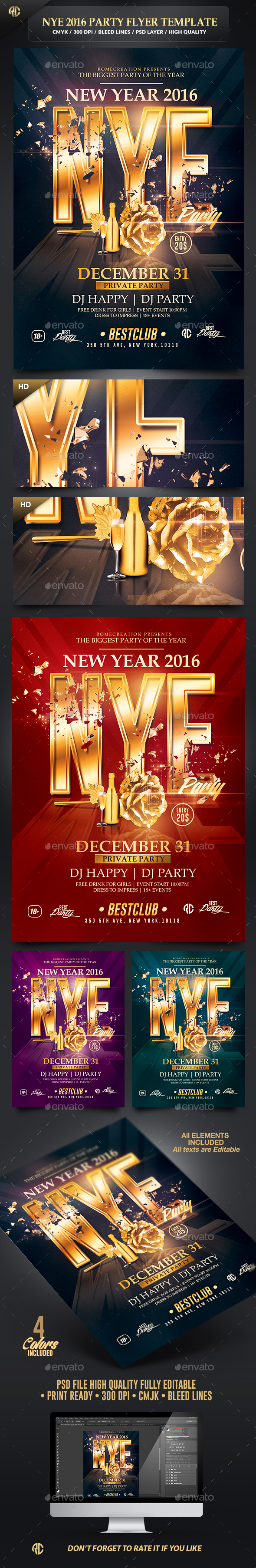 New Year Celebration 2016 | Psd Flyer Template  - Events Flyers